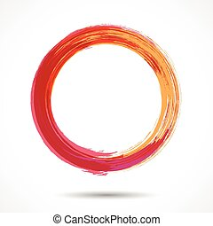 Orange and marsala fashion styled watercolor ring - Orange...