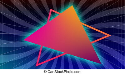 Orange and pink traingles on rotating purple striped background