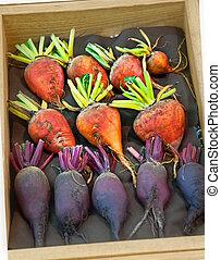 Orange and Purple Beet Vegetables in Wood Box