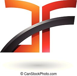 Orange and Red Dual Letter Icon of A and F Vector Illustration