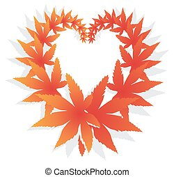 Orange and red fall design element with maple leaves