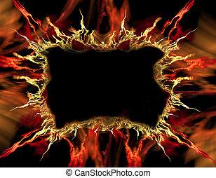orange and red flame frame - framed abstract fractal art...