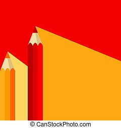 Orange and red pencil icon in flat style with long shadow. Also suitable for background, banner or template.