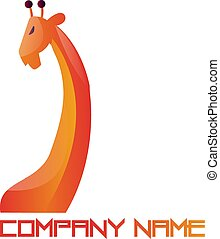 Orange and red simple logo vector illustration of a giraffe on white background