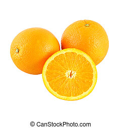 Orange and riped side fruit on white background.