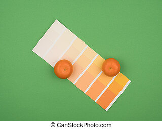 Orange and tangerine color palette. The green background.