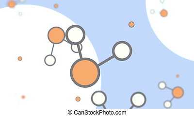 Orange and white cartoon molecule models. Loopable animation...