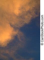 Orange and white cloud, blue sky background - Orange and ...