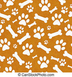 Orange and White Dog Paw Prints and Bones Tile Pattern...