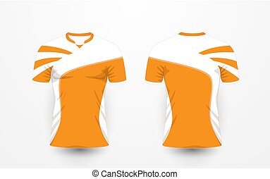 Orange and white pattern sport football kits, jersey, t-shirt design template