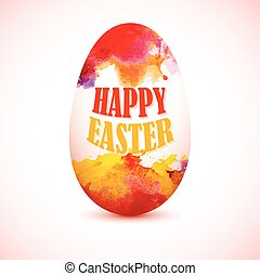 Orange and Yellow Colorful Egg with watercolor effect for greeting card with 'Happy Easter' text. Artistic splashes.