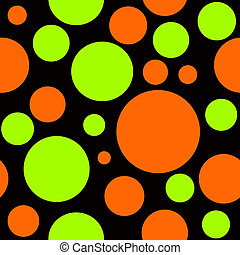 Orange and Yellow Polka Dots on Black Seamless Background -...