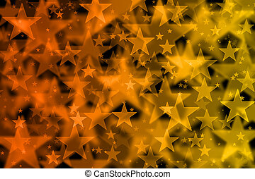 Orange and yellow stars background with bokeh effect