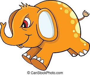Orange Angry Elephant Vector