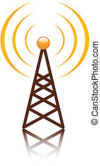 Orange antenna mast sign on white