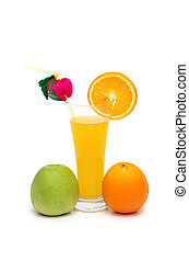 Orange, apple and juice isolated on white