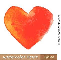 orange, aquarell, -, rotes herz