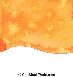orange, aquarelle, vecteur, dos, peinture