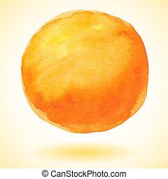 orange, aquarelle, vecteur, peinture, circ