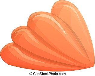 Orange aquarium shell icon, cartoon style