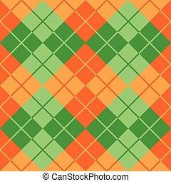 orange, argyle, vert