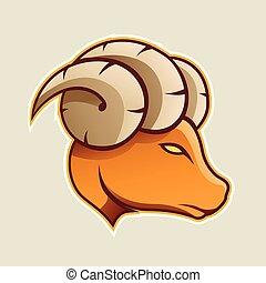 Orange Aries or Ram Cartoon Icon Vector Illustration