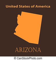 Orange Arizona map - vector illustration.