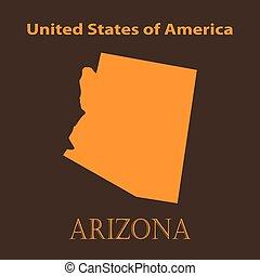 Orange Arizona map - vector illustration.