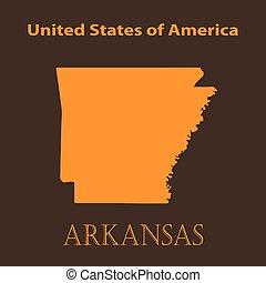 Orange Arkansas map - vector illustration.