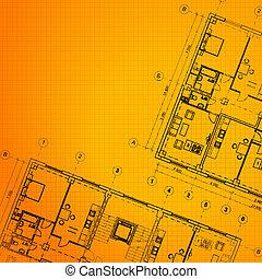 orange, arrière-plan., architectural