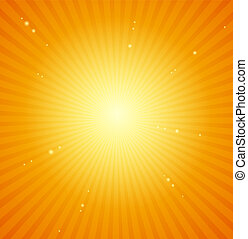 orange, arrière-plan., clair, vecteur, sunburst