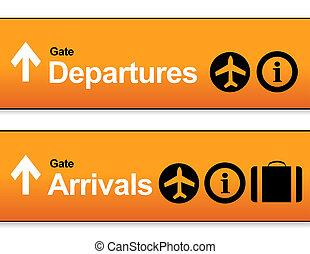 orange, arrivée, et, départs, aéroport, signes