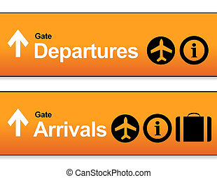 orange Arrival and departures airport signs isolated over a...
