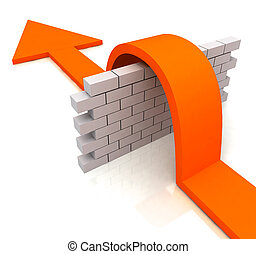 Orange Arrow Over Wall Means Overcome Obstacles - Orange...
