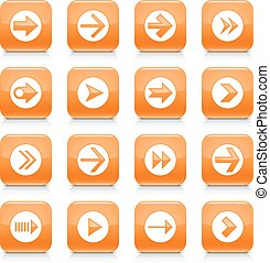 Orange arrow sign rounded square icon web button