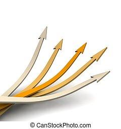Orange arrows with up direction. 3d rendered illustration.
