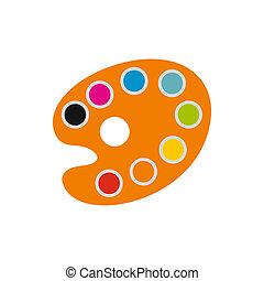 Orange art palette with paints icon, flat style