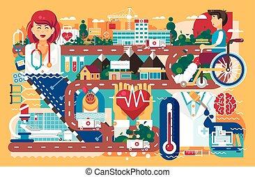 orange, assurance, patient, polyclinic, fauteuil roulant, ambulance, récupération, infirmière, vecteur, santé, fond, hôpital, illustration, maladie, soin médical, route, plat, médecine, pharmacie, style, traitement, docteur