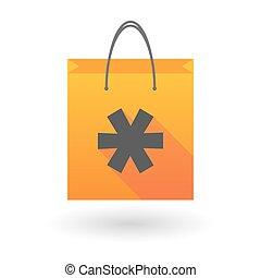 orange, astérisque, icône, sac à provisions