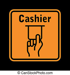 atm sign - orange atm sign isolated on black background