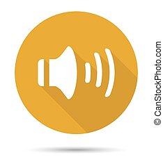 Orange audio icon with shadows