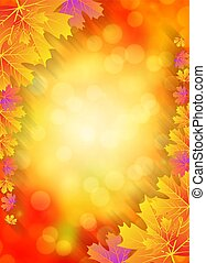 orange autumn bokeh background with leaves
