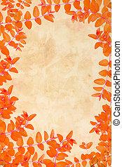 Orange autumnal leaves grungy background