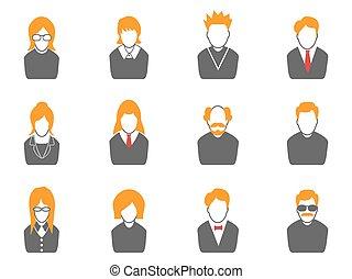 orange, avatar, série, icônes simples
