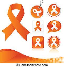 Orange Awareness Ribbons Kit - Set of orange awareness ...