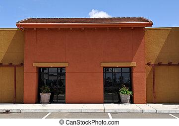 orange, bâtiment, centre commercial