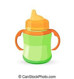 orange, bébé, lait, translucide, tasse, buvant bouteille, bol, vert