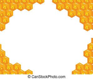 Orange background about honeycombs. Vector - the orange ...