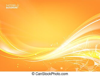 Orange background.