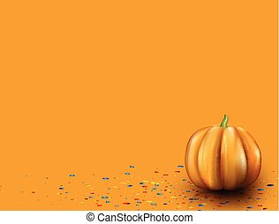 Orange background with 3d pumpkin.